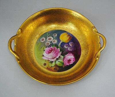 Pickard Hand Painted Etched Gold Bowl signed Challinor