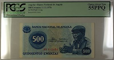 11.11.1976 National Bank of Angola 500 Kwanzas Note SCWPM# 112a PCGS Ch. 55 PPQ