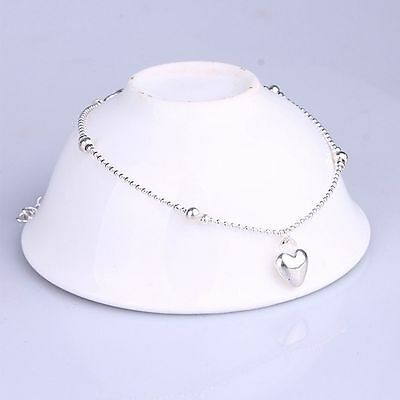 Summer Silver Plated Bracelet Love Heart-shaped Anklet Gift Jewelry Foot Chain