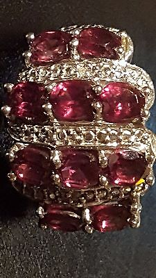 Unusual Bespoke Very Old Antique Solid Silver & Garnet Hallmarked Ring,FreeUKP&P