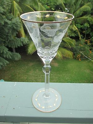 "Gilded Crystal Moser Paula Rose Cut Wine Water Glass Stemware 8oz 10.25"" 9"