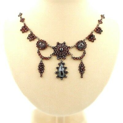 Grandiose Vintage garnet festoon necklace in Victorian style|| ГРАНАТ EPK