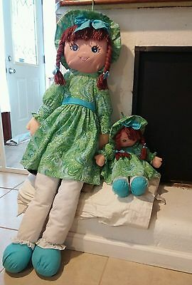2 Sweetie Mine Wellmade Mommy & Me Life Size Cloth Rag Dolls Large Blue Eyes