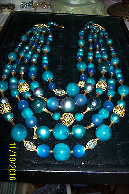 5 Strand Vintage Necklace In Turquoise And Gold