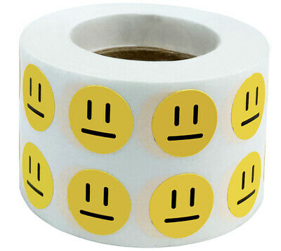 Yellow Apathetic Face Circle Dot Stickers, 1/2 Inch Round, 1000 Labels on a Roll