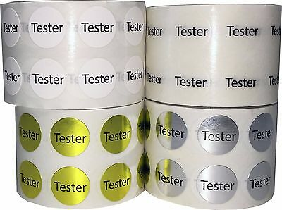 "Retail ""Tester"" Dot Adhesive Stickers, 1000 1/2 Inch Labels, 4 Colors"
