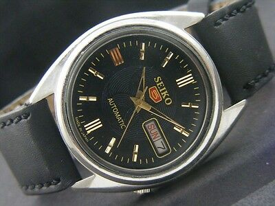 SEIKO 5 Automatic Stainless Steel Wristwatch- Black Face - Men's