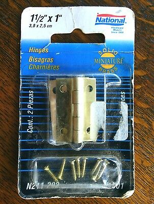 Solid Brass Hinges Size 1.1/2'' x 1'' Pack 2 Screws Cabinet Small Door Set Pair
