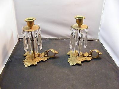 pair vintage french bronze CANDLESTICK  glass prisms asthetic movement