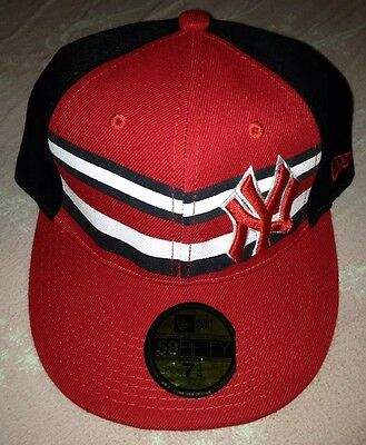 Men's New York Yankee 59fifty Hat Black Red Size 7 1/4 NWOT