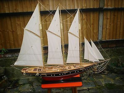 Very Large Old Wooden Model Sailing Yacht On Plinth (V.g.c)