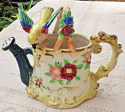 VINTAGE 1950's HAND PAINTED PORCELAIN PLANTER - YELLOW BIRD PERCHED ON WATER CAN