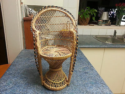 Vintage Cane/Wicker Peacock Chair for Teddy Bear/Doll - 43cm H