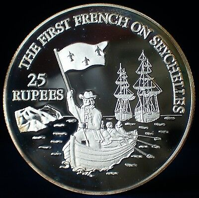 SEYCHELLES. 1993 Silver 25 RUPEES. FIRST FRENCH LANDING. PROOF