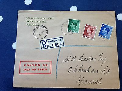 GB UK very rare King Edward VIII FDC part hand cancelled from Selfridges £ 150 +