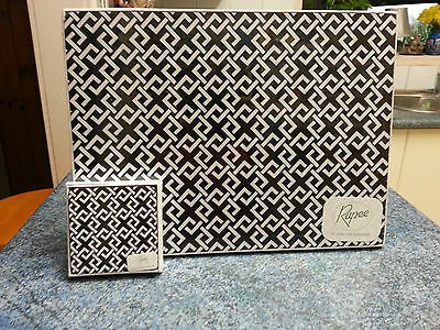 RAPEE Set of 4 Cork Placemats and 4 Cork Coasters - Black and White - New -