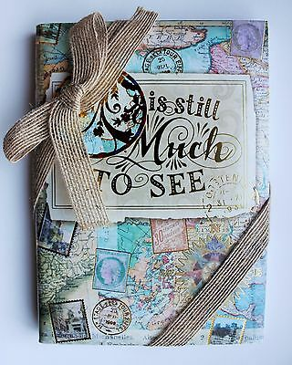 *PUNCH STUDIO Set of 3 Gold Foil Small Travel Journals ~ Travel Diary~ World MAP