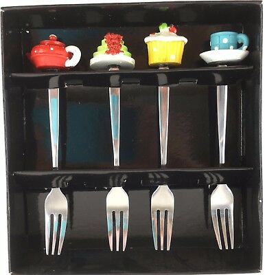 4pcs Gift Pack Coffee/Tea Spoon & Fork Teapot & Cake Decorative Design RRP $12.5