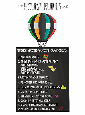 Personalised Family House Rules - Build Your Own Air Balloon Family Print Art