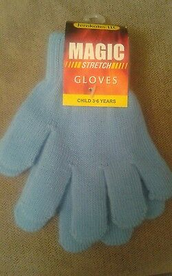 BOYS / GIRLS  Stretch Gloves Winter Warm Plain Solid LT Blue  Size  3-6 years