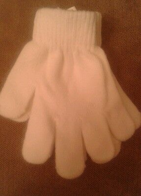 BOYS / GIRLS  Stretch Gloves Winter Warm Plain Solid White 3-6 years