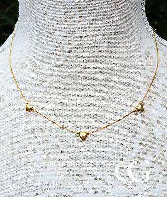 Fine 9ct Yellow Gold Three Heart Charm Box Chain Necklace 16.5""