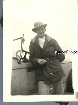 Vintage Photograph N_0328 Man In Hat Posed On Side Of Old Car