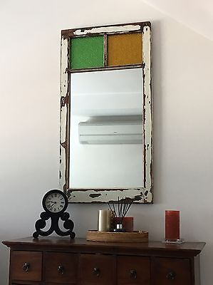 Beautiful wall mantle mirror timber wood stained glass window vintage rustic