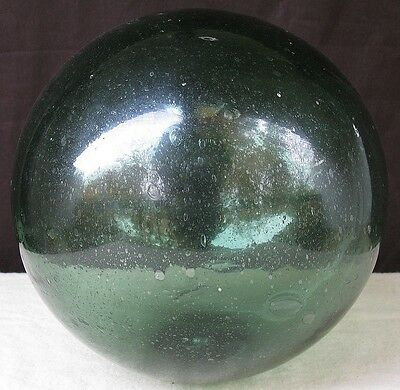 Japanese? Vintage Fishing Net Glass Ball Float about 12 inch Green Many Bubbles