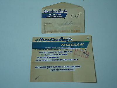 Canadian Pacific Telegram with Envelope 1958 SS Empress of Britain Ship
