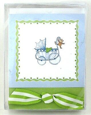 NIB eXQUISITE pAPERS Buggy Carriage (10) BABY NOTE CARDS ENV Ribbon Green Monkey