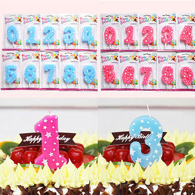 2 Colors Numbers Shaped Star Birthday Cake Decoration Party Anniversary Candles