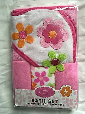Girls Hooded Towel & 3 Washcloth Gift Set Pink Shower Flowers Bath Baby