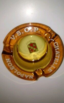 vintage ashtray CHATELLE NAPOLEON VSOP amber glass