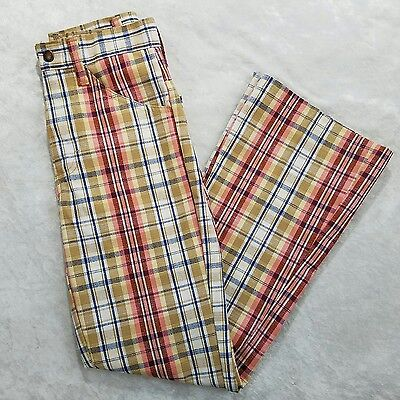 JC Penney Match Factory VTG Girls Plaid High Waist Flared Pants SZ 14 Poly Blend