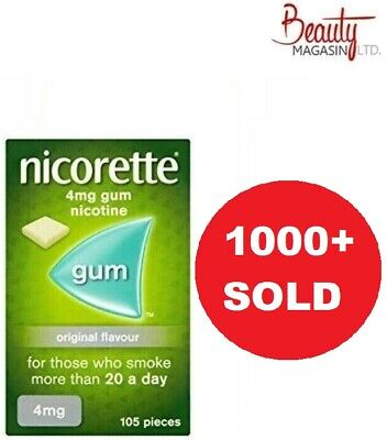 Nicorette Gum Original Flavour Full Strenght 4mg 105 Piece Free US Shipping