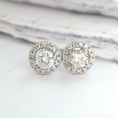 18k White Gold 0.40 Carat Round Diamond Halo Stud Earrings