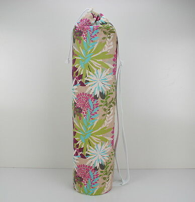 Cotton Floral Yoga/Pilates Mat Bag with Adjustable Carry Strap Fits Mat 6mm