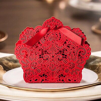 50PCS Red Ribbon Wedding Luxury Candy Boxes Party Favor Sweet Cake Box Gift