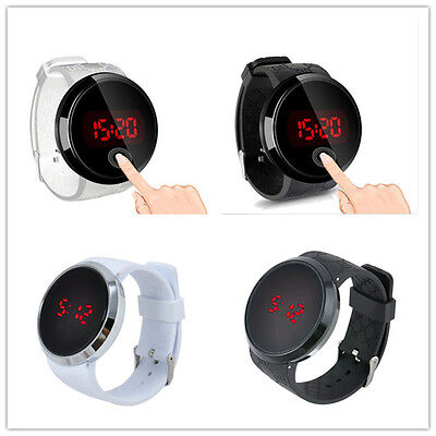 Mens Watch LED Touch Screen Date Silicone Wrist Black Watch Waterproof Fashion