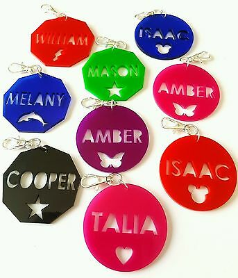 Personalised Children's Acrylic Bag Tags Travel Back to School Luggage Tags