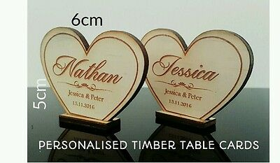 10 x Personalised timber wedding table place cards for guests