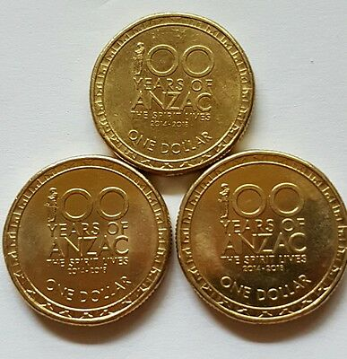 $2 Coins Anzac Set of 4 100 years. 2014, 2015 & 2016 Rare