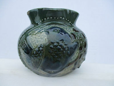 "signed 1908 brannam bird picture jug "" damaged "" a/f"