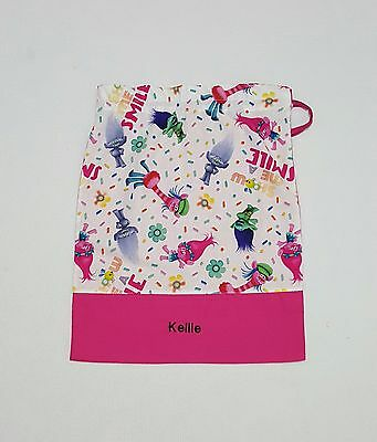 $Free Name Troll Trolls Design Pink Personalised Embroidery Library Bag (Fd)