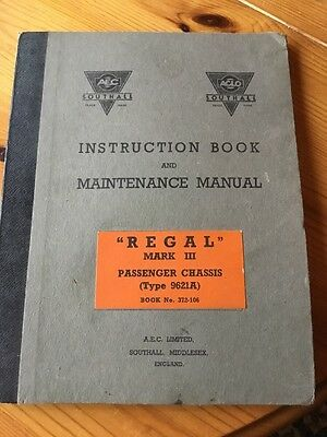 AEC Limited Regal Mark lll Passenger Chassis Manual Type 9621A