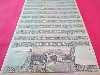 Afghanistan Paper Money Currency Banknotes 10 PCS Uncirculated 2 Afghanis Each