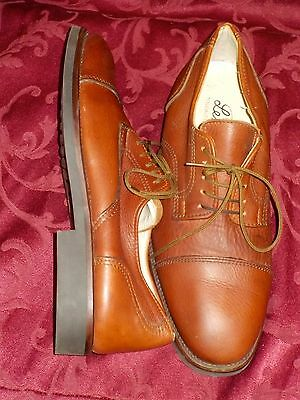 Tan Oxford Lace Up Brogues Leather Retro Vintage Shoes Made In Italy Size 41