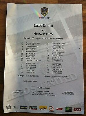 Leeds United v Norwich City - 5th August 2006  - Single Page Team Sheet