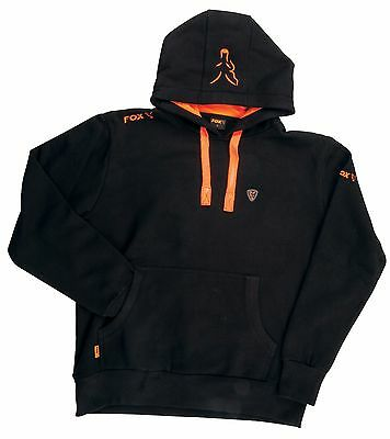 Fox Carp Fishing Clothing Range - Black & Orange Hoody - All Sizes